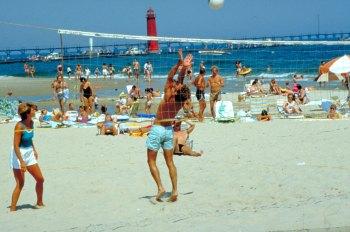 Lake Michigan beach summer fun.