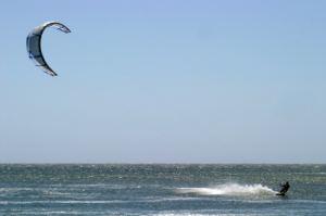 Lake Michigan kiteboarding fun.