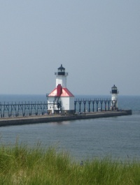 Lighthouse pier in St. Joseph, Michigan.