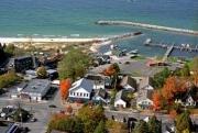Beach town on west Michigan coast.