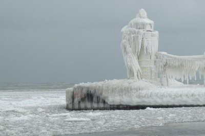 Michigan lighthouse winter.