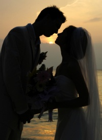 Saugatuck Michigan sunset wedding.
