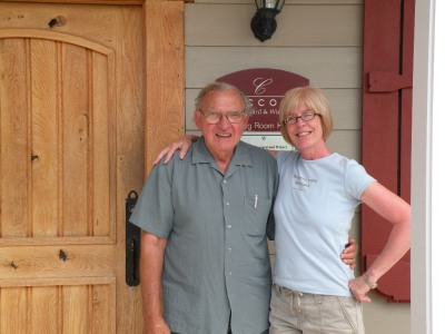 Sue with Madonna's father Anthony Ciccone at his winery Ciccone Vineyard and Winery outside Suttons Bay Michigan.