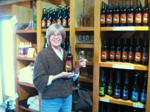 Sue picking out a bottle of our fav at Round Barn Winery.