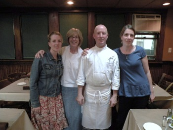 Timothy's Restaurant ... Sue's daughter Amy, Sue, Chef Timothy and Sue's daughter Laura.