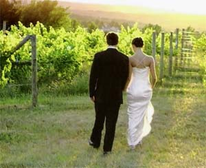 Michigan vineyard weddings are romantic.