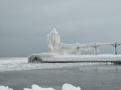 Winter ice on Michigan lighthouse.