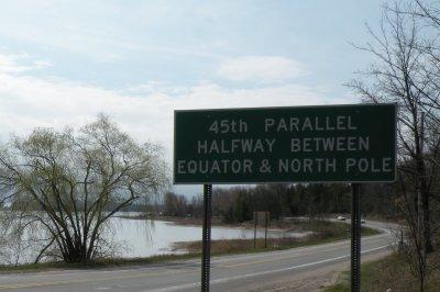 Crossing Michigan's 45th Parallel