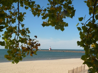 Michigan lighhouse in the fall.