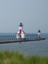 Lighthouse pier in St. Joseph, Michigan.