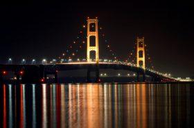 Mackinac Bridge is beautiful at night.