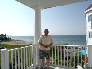 Me on the balcony of our room at The Inn at Bay Harbor.