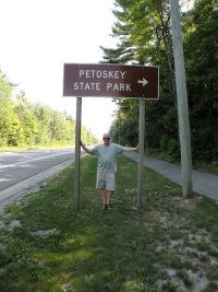 Me at entrance to Petoskey State Park.