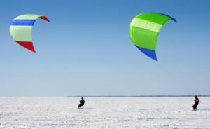 Kiteboarding the Michigan snow.