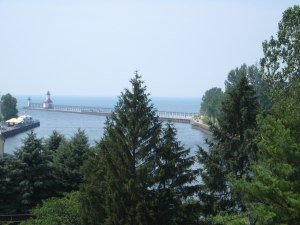 St. Joseph Michigan's harbor view from the bluff.