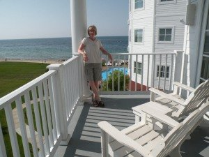 Sue enjoying our balcony ... what a view!