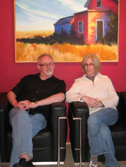 Sue and Roger Harvey at his gallery in New Buffalo Michigan.
